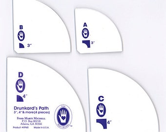 "Perfect Patchwork Templates, Drunkard's Path set 3"", 3 1/2"", 4"" units"