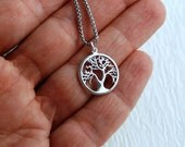 Tree of Life charm necklace, matte silver pendant simple everyday jewelry minimalist minimal tiny charm casual Christmas gift