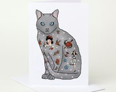 Tattoo Cat Birthday Card (cat card, card for cat lover, cute cat card, cat congratulations card, cat celebration card, cat good luck card)