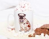 Pug Mug (tattoo pug mug, pug gift, dog mug, pug love gift, pug birthday idea, cute pug, pug tattoo, tattoo lover, tattooed pug, pug design)