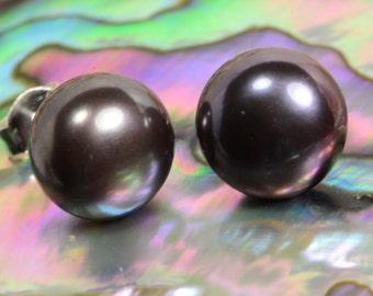 Black Pearl 9.6mm Earrings Sterling Silver Jewelry Black Pearl Jewelry Handmade Jewelry