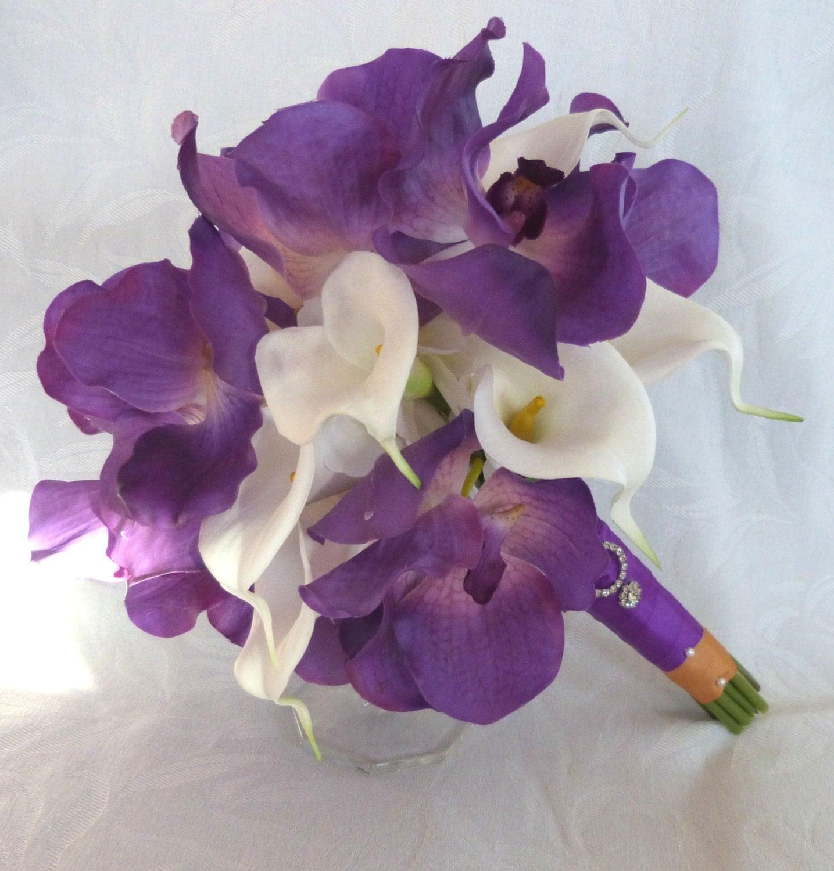 4 Piece Purple Orchid Bridal Bouquet Real Touch Purple Vanda