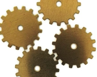 Steampunk Cog Gears Ox Antiqued Brass 24 Gauge Assemblage Altered Art Lot 19mm- Qty 4 Made in the USA