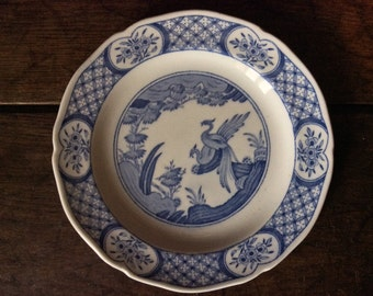 Vintage English Blue White Old Chelsea Spin Round Tea Plate Side Sandwich circa 1940's / English Shop