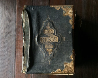 Antique English Holy Illustrated National Family Bible Large Black Table Altar from London Very Heavy circa 1890's / English Shop