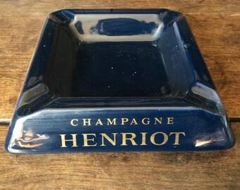 Vintage Belgian mid night blue Champagne Henriot ceramic ashtray circa 1970's / English Shop