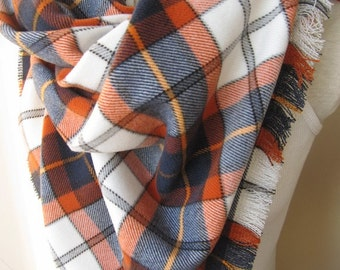 Denver Broncos scarf-orange navy blue scarf-Flannel Tartan plaid blanket scarf/shawl winter fashion-women's scarves-men's scarves accessory