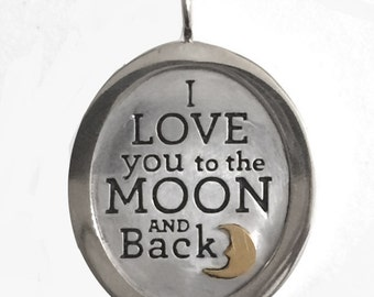 Love You to The Moon and Back Sterling Charm