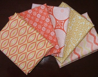 Sunnyside Fat Quarter Bundle of 5 in Yellow & Coral by Kate Spain for Moda - 2 LEFT