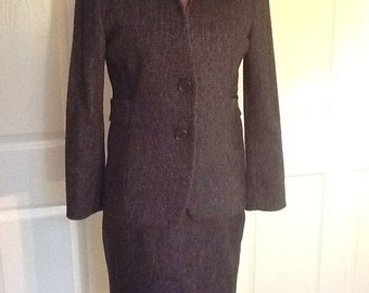 AGNONA Designer Skirt Suit Wool & Cashmere tweed Italy 44 6, 8