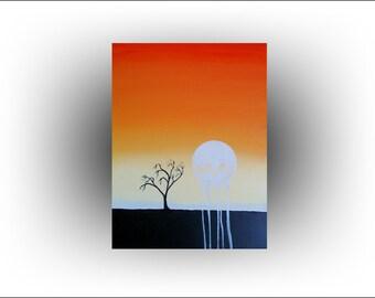 ORIGINAL Painting Orange Sunset Landscape Art Tree Painting...24 x 18... by Skye Taylor Artist