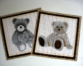 Quilted Mug Rugs, Teddy Bears.  Set of Two, Snack Mats, Place Mats, Candle Mats