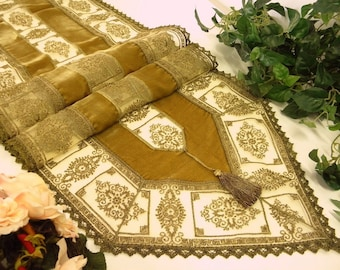 Golden bronze Silk velvet table runner with golden laces luxury table topper handmade rich eclectic home decor fine bronze lace Christmas