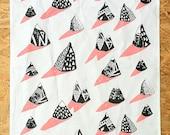 Hand Screen Printed Mountain Tea Towel Pink/Blue
