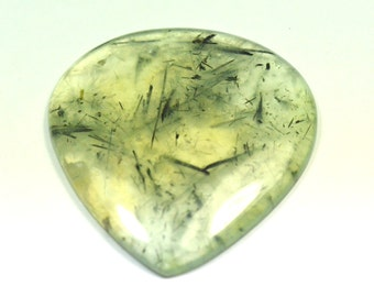 56mm Prehnite cabochon drop shape green and yellow 56 by 49 by 5mm 126ct