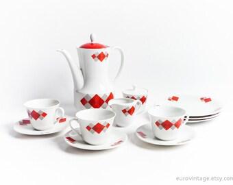 Vintage Porcelain Coffee Set, Red, White, Geometrical Tea Set Bavaria 60s