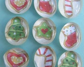 Glass Pebble  Gem Magnet - Christmas Cookies -  - Set of 9 - Holiday - Seasonal - Gift - Cookie