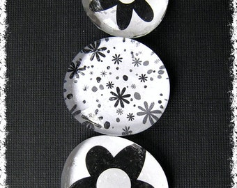 Glass Pebble Magnets - Black - White Flowers   Set of 3 -- Kitchen Magnets - Office Decor - Magnet