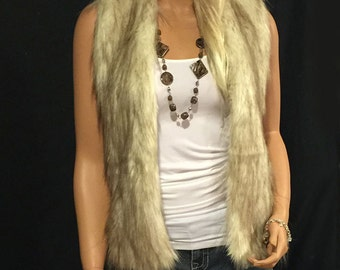 Faux Fur Vest Hip Length In Champagne Brown Ivory Beige Fox  Style: FVA505