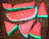 Primitive, Watermelon Set, 4 Chunks, 2 Slices, Bowl Fillers, Tucks, Shelf Sitters, Soft Sculptured, Hand Painted, Rustic, OOAK Set of 6
