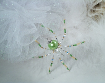 Christmas Ornament Light Green Pearl beaded Christmas Spider Ornament with Christmas Spider Legend