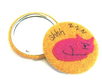 SALE - yellow Harris Tweed covered pocket mirror with embroidered sleepy kitty cat, applique fabric mirror, handbag mirror, cat lover