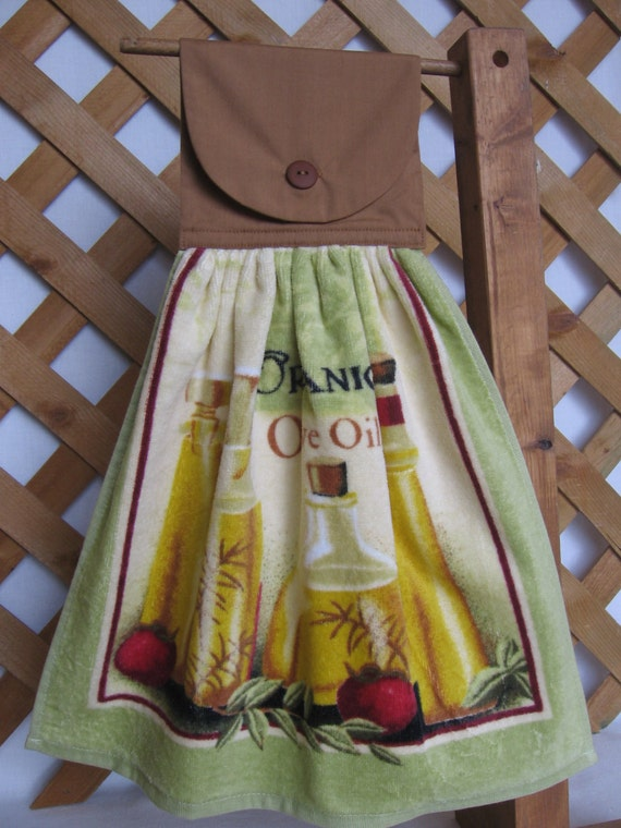 Olive Oil Cooking Theme Kitchen Tea Towel LAST ONES Hanging Kitchen Towel with Olive Oil Theme SnowNoseCrafts