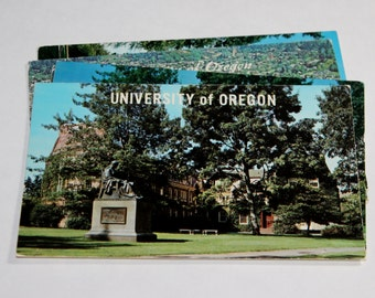 5 Vintage University of Oregon Chrome Postcards Used
