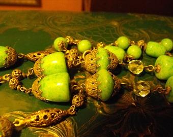 Czech Peking glass necklace  Jade glass necklace Art Deco necklace Art Nouveau necklace