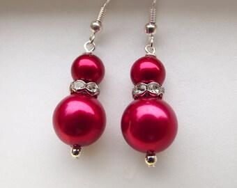 Red Pearl Wedding Earrings, Red Bridal Earrings, Red Pearl Earrings, Pearl and Rhinestone Earrings