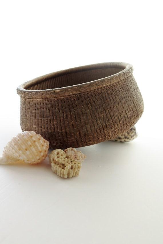 Basket Weaving Dyed Reed : Antique basket tight weave wicker reed blue dye bottom