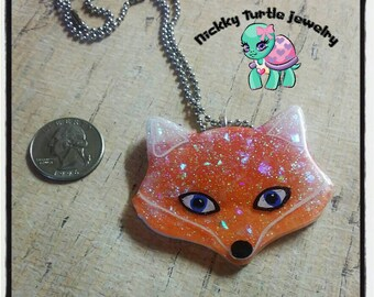 Fox resin necklace