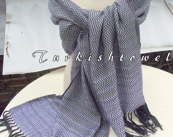 Turkishtowel-2015 Collection-Hand woven,loose weave like gauze cotton warp and weft,soft Shawl-Very warm,lovely-Grey and white pin stripes