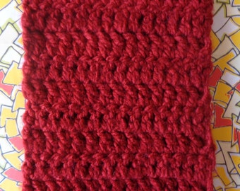 Red Handmade Crochet Scarf by Pepperland