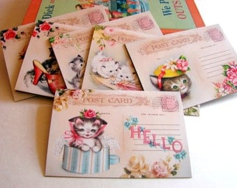 Kitty Cat Note Card Set - Cute Kittens Cats Singing A Song In A Shoe Writing A Letter In A Hatbox Wearing A Hat - 6 Sm Greeting Cards