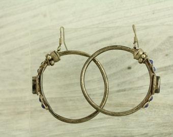 Vintage Lapis Bali Sterling Silver Earrings Hoop Dangles (ET252 )