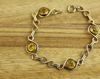 Vintage Citrine Stones Chain link Gold Filled Bracelet (ET438 )