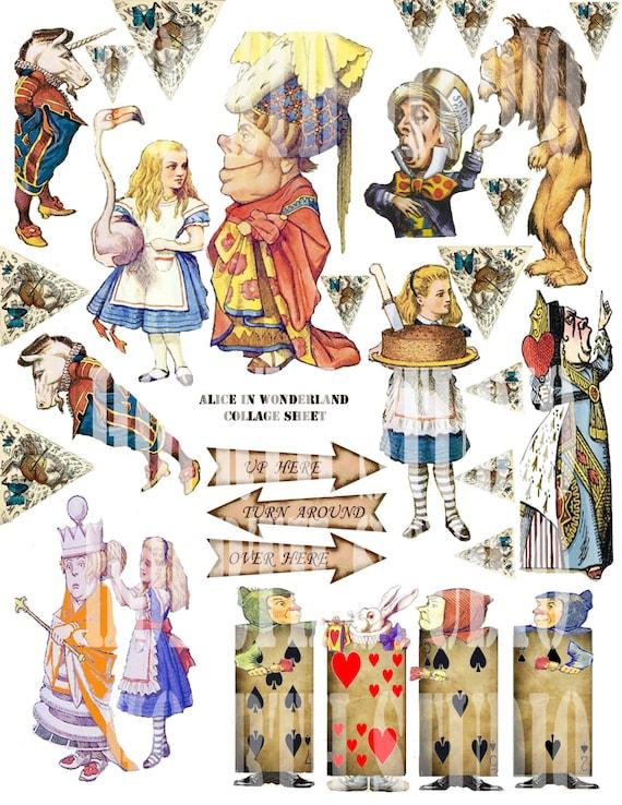 Printable Alice In Wonderland Collage Sheet