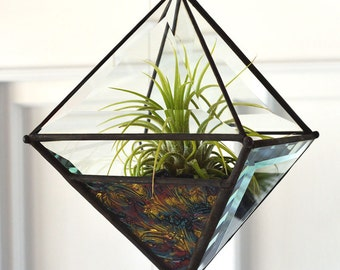Large Pyramid Beveled Glass Orb Air Plant Planter with Gold Green/Blue and Violet Van Gogh Accent Glass