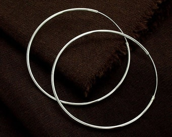 1 pair of 925 Sterling Silver  Circle Hoop Earrings 1.5x60 mm. :er0852
