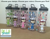 Personalized with name acrylic tumbler or water bottle - Nurse, RN, Doctor, Technician, Dental hygienist, Vet, Teacher