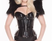 "Front Zipper Padded Pvc Overbust w/modesty panel 34B 22"" for a 24-26"" waist Black from Artifice (photoshoot sample)"