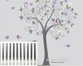 Vinyl Wall Decals Wall Sticker with Owl Bird Flower Vinyl Wall Art