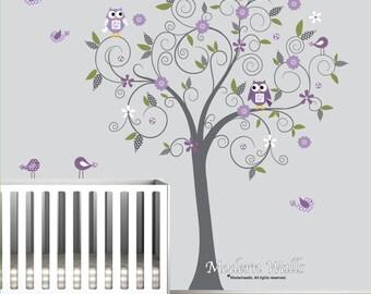 Vinyl Wall Decals Wall Sticker with Owl Bird Flower Vinyl Wall Art-e125