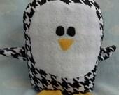 Plush Houndstooth  Penguin Pillow Pal, Baby Safe, Machine Washable