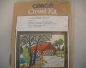 Vintage Caron Crewel Kit Covered Bridge 1977 New In Package Sewing Kit