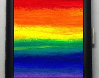 Gay Pride Colors of the Rainbow   Metal Cigarette Case or Wallet  Item No. 3
