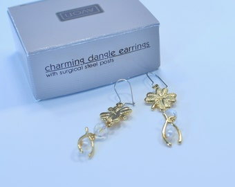 Vintage 1991 Avon Charming Goldtone Clover Wish Bone Lucky Charm Faux Pearl Aurora Borealis Beaded Pierced Dangle Earrings Original Box NIB