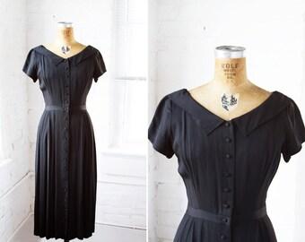 1940s Dress - 40s Dress - Black Rayon Crepe Jonathan Logan Dress