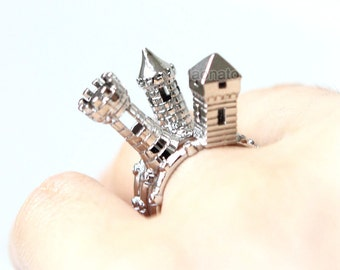 Castle Turret Rings -Set of 3 / miniature castle rings, tower rings, gold, silver